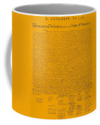 The Declaration Of Independence In Orange Coffee Mug