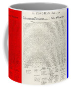 The Declaration Of Independence In Red White And Blue Coffee Mug by Rob Hans