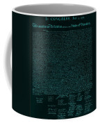 The Declaration Of Independence In Turquoise Coffee Mug