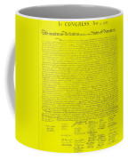 The Declaration Of Independence In Yellow Coffee Mug