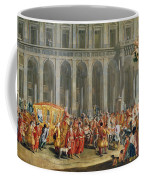 The Departure Of Alois Thomas Von Harrach, Viceroy Of Naples 1669-1742 From The Palazzo Reale Di Coffee Mug