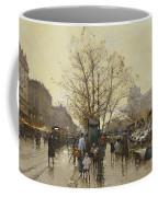The Docks Of Paris Les Quais A Paris Coffee Mug by Eugene Galien-Laloue