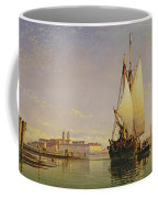 The Euganean Hills And The Laguna Of Venice - Trabaccola Waiting For The Tide Sunset Coffee Mug by Edward William Cooke