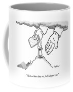 The Giant Hands Of God Hold Up The Tablets Coffee Mug