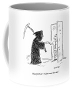 The Grim Reaper Is Seen Giving A Piece Of Paper Coffee Mug by David Sipress