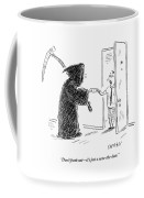 The Grim Reaper Is Seen Giving A Piece Of Paper Coffee Mug