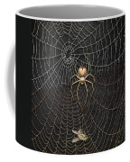 The Hunter And Its Pray - A Gold Fly Caught By A Gold Spider Coffee Mug