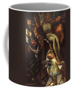 The Lowering Of The Cross With Sts Mary Magdalene Augustine Jerome And Angels Coffee Mug