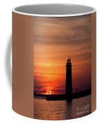 The Muskegon Lighthouse An A Lone Man Fishing Coffee Mug
