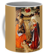 The Nativity With The Annunciation To The Shepherds In The Distance Coffee Mug