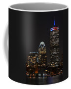 The Prudential Lit Up In Red White And Blue Coffee Mug