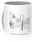 The Scene Is A Courtroom. A Lawyer Is Looking Coffee Mug