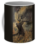 the Stag sitting in the grass oil painting Coffee Mug