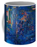 The Street Cafe Oil On Canvas Coffee Mug