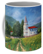 The Sunny Road Landscape With Field And Church Coffee Mug
