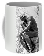 The Thinker In Black And White Coffee Mug