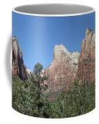 The Three Patriarchs In Zion Canyon - Panorama Coffee Mug