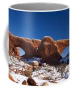 The Windows In Snow Arches National Park Utah Coffee Mug
