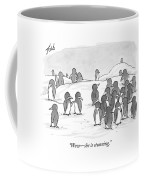 There's A Group Of Penguins And Two Penguins Coffee Mug by Tom Toro