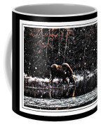 Thirsty Moose Impressionistic Painting With Borders Coffee Mug