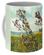 Thistles On The Beach - Oil Coffee Mug by Michelle Calkins