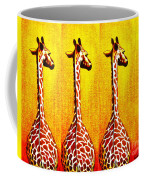 Three Amigos Giraffes Looking Back Coffee Mug