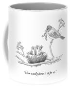 Three Baby Birds In A Nest Talk To A Grown Bird Coffee Mug