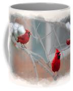 Three Cardinals In A Tree Coffee Mug by Dan Friend