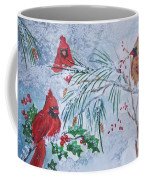 Three Cardinals In The Snow With Holly Coffee Mug