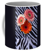 Three Daises In Striped Vase Coffee Mug
