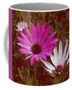 Three Flowers On Maroon Coffee Mug