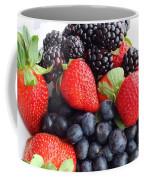 Three Fruit Closeup - Strawberries - Blueberries - Blackberries Coffee Mug by Barbara Griffin