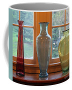 Three Glass Vases In A Window Coffee Mug