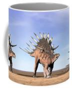 Three Kentrosaurus Dinosaurs Standing Coffee Mug by Elena Duvernay