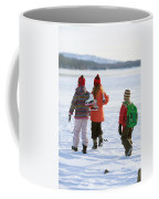 Three Kids Heading Out To Ice Skate Coffee Mug