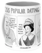 Three Panel Cartoon Of Online Dating Profiles Coffee Mug