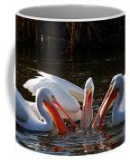 Three Pelicans And A Fish Coffee Mug