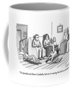 Three People Are Sitting In A Living Room Coffee Mug by Zachary Kanin