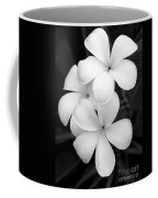 Three Plumeria Flowers In Black And White Coffee Mug by Sabrina L Ryan