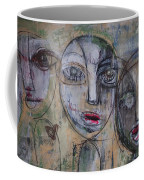Three Portraits On Paper Coffee Mug