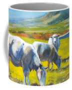 Three Sheep On A Devon Cliff Top Coffee Mug