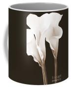 Three Tall Calla Lilies In Sepia Coffee Mug