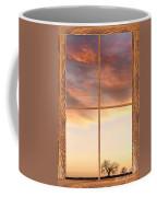 Three Trees Sunrise Barn Wood Picture Window Frame View Coffee Mug