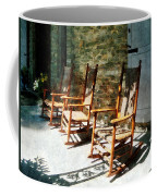 Three Wooden Rocking Chairs On Sunny Porch Coffee Mug