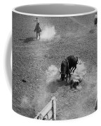 Thrown Bull Rider Rodeo Tohono O'odham Reservation Sells Arizona 1969  Coffee Mug