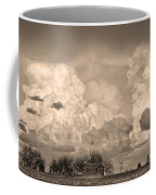 Thunderstorm Clouds And The Little House On The Prairie Sepia Coffee Mug