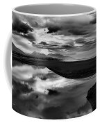 Tidal Pond Sunset New Zealand In Black And White Coffee Mug