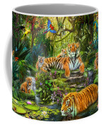 Tiger Family At The Pool Coffee Mug