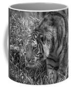 Tiger Stalking In Black And White Coffee Mug