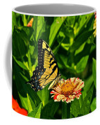 Tiger Swallowtail And Peppermint Stick Zinnias Coffee Mug